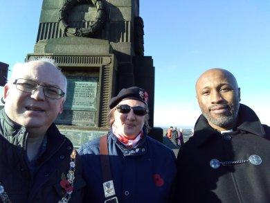 Cllr Jamie Curley, RBL standard bearer Alison Clowes and Rev Aaron Jackman