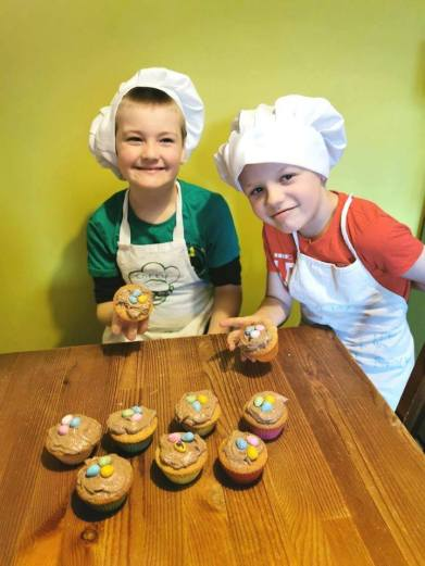 Corey (7) & Rocky (9) 2nd place in Easter cake category 2
