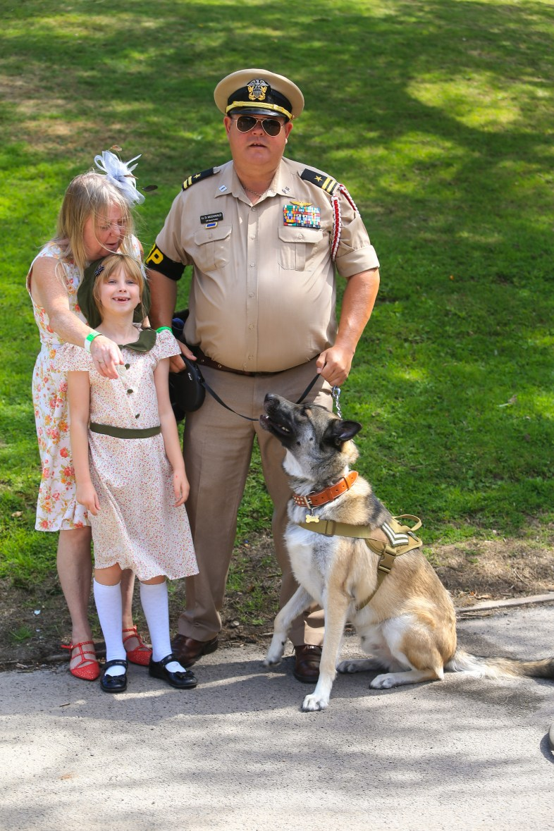 Corporal Chase and the McDonald family at Saddleworth School