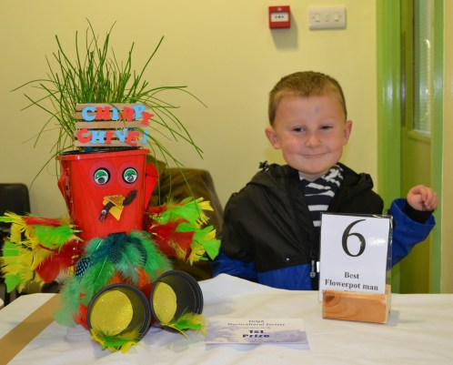 Branden Buckley with his winning flowerpot man 'Chirpy Chive'