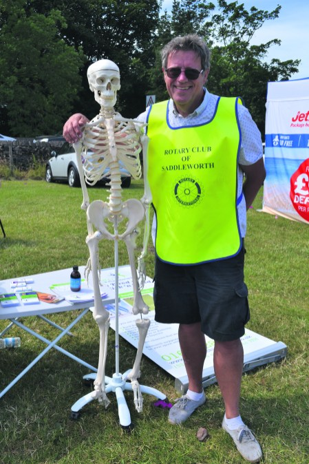 David Howse of Rotary Club with skeleton