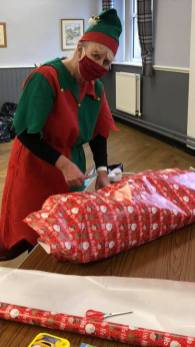Dovestone WI foodbank present elves 4