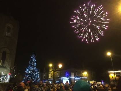 Fireworks brightened up the sky after the Uppermill switch-on (Picture thanks to Susan and Marcus Henthorn)