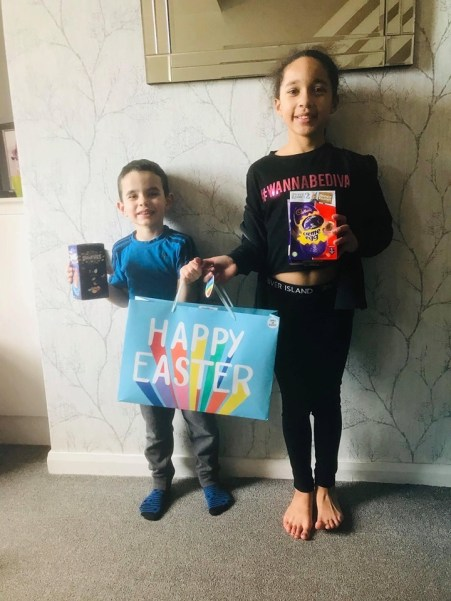 Kai (5) & Gabriella (9) brother & sister winners in Egg decorating competition