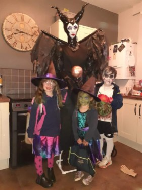 Maleficent by Jacob, Remie and Raeya Heron with mum and dad Jenna Leigh Hulme and Mike Heron