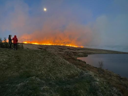 Marsden moor fire from Brun Cloygh Reservoir 25-04-21 by Saddleworth Independent (1)