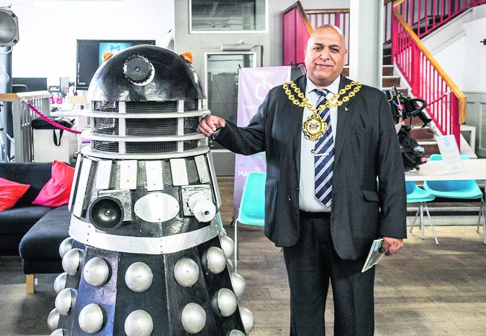 Mayor Cllr Javid Iqbal with Bob the Dalek