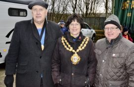 Mayor of Oldham, councillor Ginny Alexander, with husband and consort, Adrian Alexander plus councillor Jamie Curley, chair of Saddleworth Parish Council