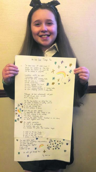 Neve aged 10 with poem