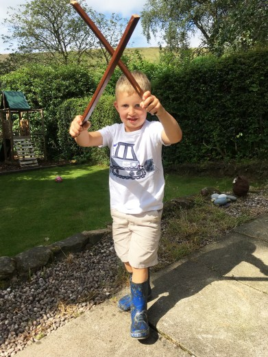 Ollie with his morris poles