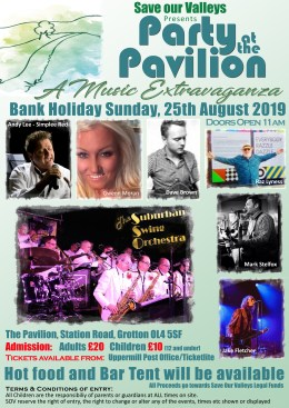 Party at the Pavilion on Sunday 25th August 2019