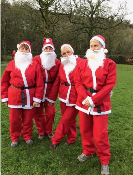 SWI Santa Dash Team from L – R Cathy Wilde, Lesley Winrow, Christine Burbidge, Karen Kilgannon