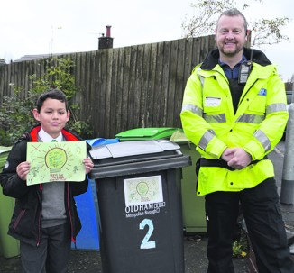 Jonas Viella, a Year 4/5 pupil at St Chad's Uppermill, was the first person to put the sticker on his bin after his catchy 'don't let the thief give you grief' slogan impressed the judges.