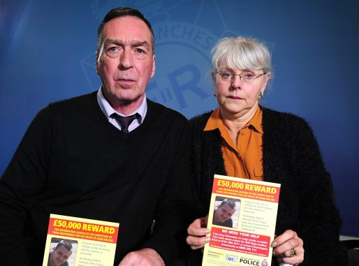 Stephen Wilcox and Carolyn Wilcox . Greater Manchester Police HQ , Northampton Rd , Newton Heath , Manchester , United Kingdom . The parents of Craig Wilcox speaking to the media on the fifth anniversary of his murder . 21 February 2019