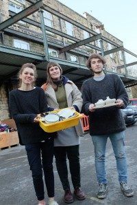 Students Eade, Laura and Charlie at Emmaus Mossley