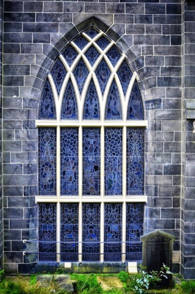 The famous East Window at St Chad Saddleworth Church