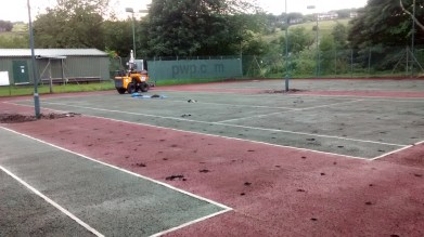 Drainage holes for the new courts