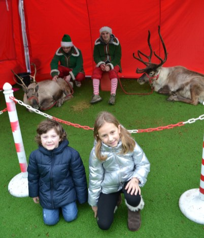 Harry and Ruby Marsden from Friezland visit the reindeer