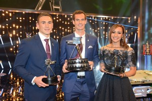 Programme Name: BBC Sports Personality of the Year 2015 - TX: 20/12/2015 - Episode: n/a (No. n/a) - Picture Shows: SPOTY 2015 Winner Andy Murray with runner-up Kevin Sinfield and 3rd place Jessica Ennis-Hill Kevin Sinfield, Andy Murray, Jessica Ennis-Hill - (C) BBC - Photographer: Kieron MCCarron