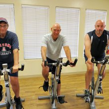 Indoor cyclists Gary Haslett, Keith Dickmann and Tom Oetlinger