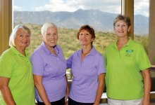 First place winners for the Sputters' Tournament: Sharon Powers, Doris Clark, Marlene Cowan and Donna Gruninger
