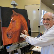 Richard Bynum enjoys taking painting classes from Wanda Tucker.