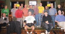 "On January 24, 2015, an 8-Ball Tournament was held at the SaddleBrooke Ranch, run by Tournament Directors Dominic ""The Doctor"" Borland and Joe ""Fast Eddie"" Giammarino. We had 18 participants (wow!). SaddleBrooke residents and guests were Dominic ""The Doctor"" Borland, Joe ""Fast Eddie"" Giammarino (not pictured), Jim ""Aviator"" Wydick, Tom ""Half Jacket"" Barrett, Richard ""Villa Park"" Werkmeister, Al ""Big Al"" Petito, Gary Rowell (front center), Don ""Deadeye"" Cox, Don ""California Kid"" Fowler, John Nola, Fred Dianda (not pictured) and from the Ranch the participants were Richard ""Loose Rack"" Galant, Harley Schlachter, Frank Sciannella, Jim Kauffman, Peter Bratz, Tom ""Teck"" Sorensen and Cliff ""Lucky Shirt"" Terry."