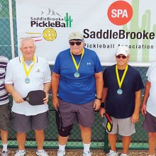 2.5 Men's Doubles, left to right: Charles Thomas, Ron Limoges (not shown) – Bronze; Steve Jacobs, Richard Borland – Gold; Bud Mottice, Don Richey – Silver