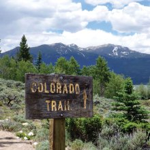 Colorado Trail sign near Twin Lakes on Section 11 of the Colorado Trail; photo by Elisabeth Wheeler