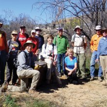 Ray Peale, Mary Croft, Joe and Joyce Maurizzi, Fred Norris, Mike Wolters, Stan Smith, Shawn Redfield and Garrett Ressing; front: George and Ellen Citron, Marilynn Smith; missing from photo Kathy Gish and Jeff Bridge. Photo by Elisabeth Wheeler.