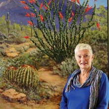 Barbara Leightenheimer with her oil-on-canvas painting, Going my way—March.