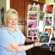 Dolores Root examines a few of the notecards she's created featuring some of her award-winning photographs.