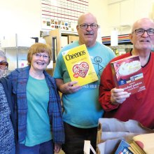 Selma Landsberg (left) and Mary Crawshay of the IMPACT Food Bank with Doug Laframboise and Stan Hustad