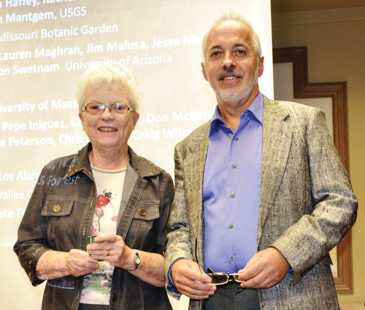 Door prize winner Jean Patton and Don Falk; photo by Ed Skaff