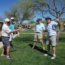 Ken Ratcliff, Darell Jelsma, Gary Beeler and Jack Sheerin prepare to engage prior to the Niners Home and Home Tournament.