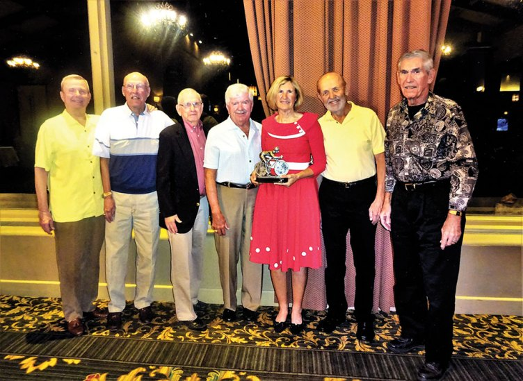 2016 Cyclist of the Year winner Linda Monfore, along with previous award winners Mike Brenny, Tom Erb, Bob Halk, Bud Chase, Ed Haugland and Ken Luthy.