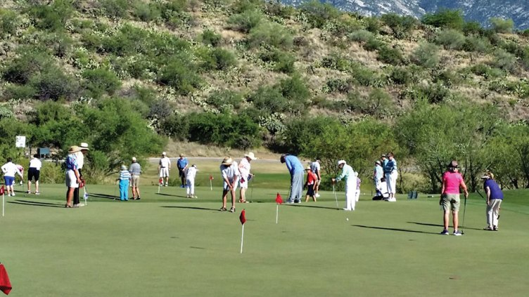 Twelve teams competed in the putting tournament.