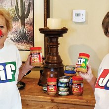 Savo Fries and Patti Albaugh sport Jif Peanut Butter shirts as a reminder of the Protein for Growing Minds project. Savo Fries, never one to miss an opportunity for humor, has a clown nose to commemorate Red Nose Day, a nonprofit activity to help disadvantaged children.