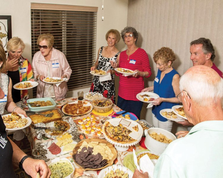 The food table at the Lancasters' Snack and Chat; photo by Nelson Rodrigues.