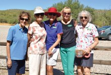 On October 6 the SaddleBrooke Hiking Club held its fall picnic at Catalina State Park. Picnic committee members shown are Elaine Fagan, Martha Hackworth, Mary Jo Swartzberg, Joyce Mauriczi and Lissa White; not pictured: Pat Morris, LaVerne Kyriss and Harriett Pearson; photo by Sue Bush.