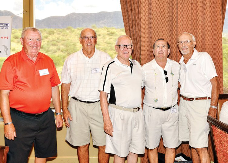 "Winning team, ""Graf's Gang,"" receives their prize. From left: Randy Spencer (tournament treasurer), Al Storey, Larry Kraber, Don Stone and Don Graf"