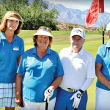 """Brenda Wilson, Debbie Thompson, James Wetegrove and Dian Kupper express their """"game on"""" faces."""