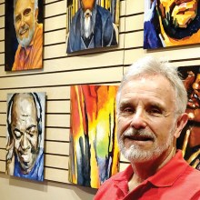 Jim Morris displays portraits painted using a variety of techniques.