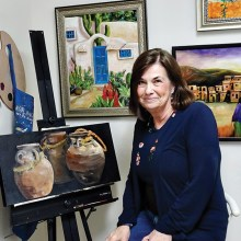 Suzanne Brubaker shows some of her completed works.