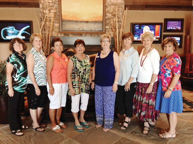 Birthday Club members who celebrated their birthdays at the luncheon, left to right: Deena Ream-Robinson, Anne Terrell, Sue Wells, Mary Spyros, Jeanne Biancini, Linda Thompson, Linda Whittington and Lee Rinke.