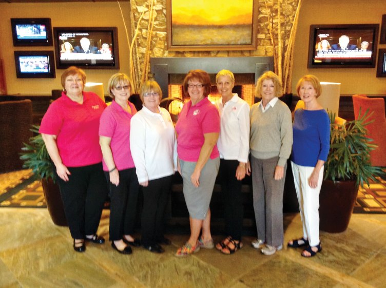 The 2017 Ranchette Putters Board Members, from left: Mary Schlachter, treasurer; Jeannie Bianchini, statistician; Marian Bianchini, membership coordinator; Nancy Galant, president; Cindy Heck, event coordinator; Vicki Godbey, vice president and Terry Barringer, secretary. Photo by Deb Lawson