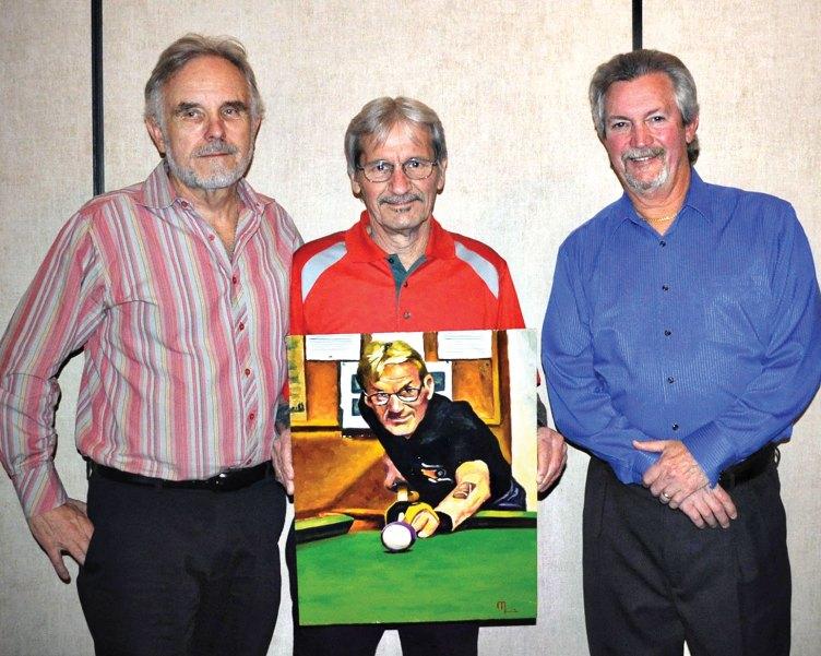 "Left to right: Jim Morris, artist, Joe ""Fast Eddie"" Giammarino, Dominic ""The Doctor"" Borland"