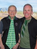 Leonard Schenkel and Karl Knight proudly showing their Irish green ties; photo by Steve Weiss
