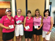 July winners: Char Eckmeyer, Jean Sticha, Janice Neal, Terry Pendy and Evie Thompson; photo by Deb Lawson