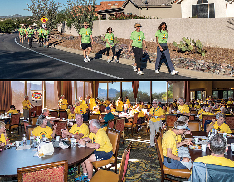 Each year Walkathon registrants walk the Ridgeview loop and then stop at the SaddleBrooke Clubhouse for a buffet breakfast.